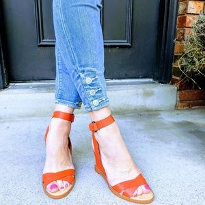 luxury rebel orange leather strappy sandals
